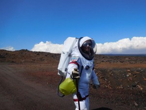walking on red mars with bag and pole