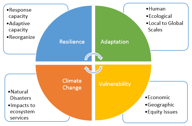 A graphic displaying the interconnectivity between climate change, adaptability, vulnerability, and resilience; for climate resilience. By Quokka-roo, Courtest of Wikimedia Commons. Created on 7 May 2014.